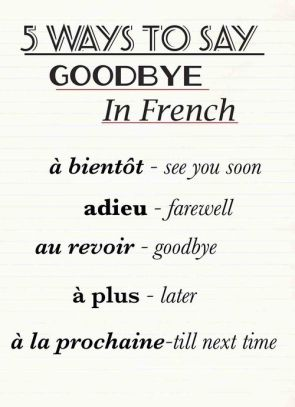 ''goodbye'' in french